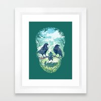 Nature's Skull (Green) Framed Art Print