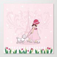 Paris Girl & Poodle Eiffle Tower Canvas Print