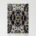 Fantasy lace abstract, white & yellow on black Stationery Cards