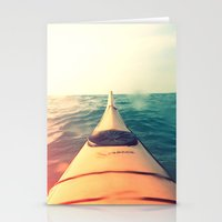 Yellow Kayak In Water Co… Stationery Cards