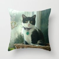 Raindrop Kitty Throw Pillow
