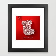 Happy Holidays - Boot Framed Art Print