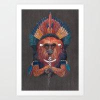 Red Fire Monkey Art Print
