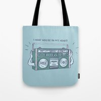I hear voices in my head Tote Bag