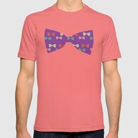 Hipster Bow Tie  Mens Fitted Tee Pomegranate SMALL