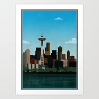 seattle Art Prints featuring Seattle by WyattDesign