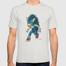 Sonic the Hedgehog Mens Fitted Tee Silver SMALL