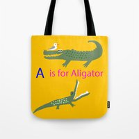 A is for Aligator Tote Bag