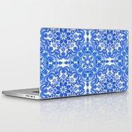 Cobalt Blue & China Whit… Laptop & iPad Skin