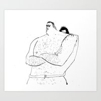 Naked Hugging Art Print