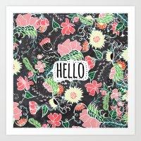 Pastel preppy flowers Hello typography chalkboard Art Print