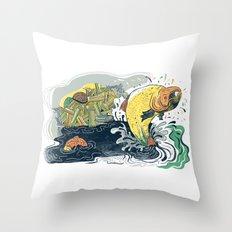 Salmon Jumping Throw Pillow