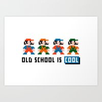 mario Art Prints featuring Mario by PixelPower
