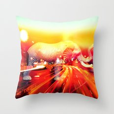 Elephant on the highway. Throw Pillow