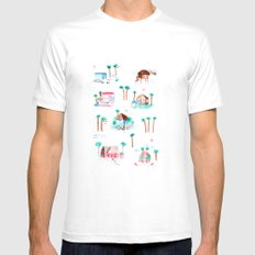 Summer houses SMALL White Mens Fitted Tee