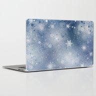 Silver Blue Snowflakes Laptop & iPad Skin