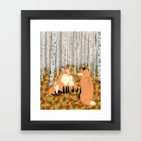Fox family in the autumn forest Framed Art Print