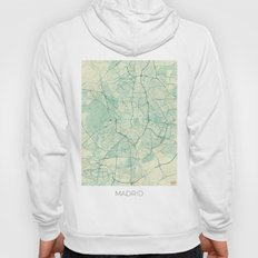 Madrid Map Blue Vintage Hoody