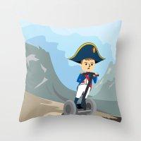Throw Pillow featuring Napoleon Segways the Alps by Mouki K. Butt