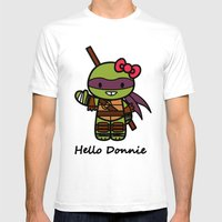 Hello Donnie Mens Fitted Tee White SMALL
