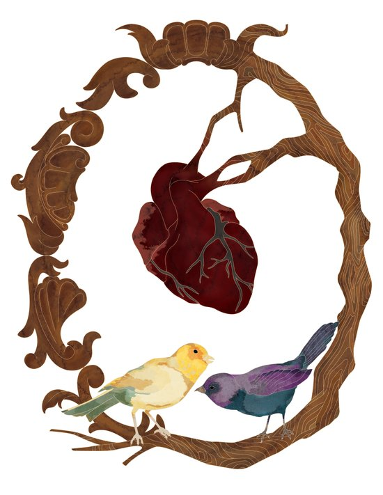 Two birds and a heart Art Print