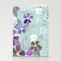 Summer blossom, blue and purple Stationery Cards