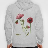 Red Poppies - Botanical Art - watercolor Hoody
