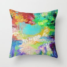 IN DREAMS - Gorgeous Bold Colors, Abstract Acrylic Idyllic Forest Landscape Secret Garden Painting Throw Pillow
