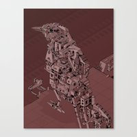 Red Bird Machine City Canvas Print