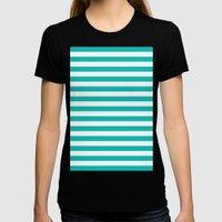 Horizontal Stripes (Tiffany Blue/White) Womens Fitted Tee Black SMALL