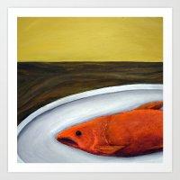 Fish On A Plate Art Print