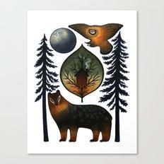 The Bear and the Barn Owl Canvas Print