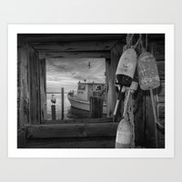 Black And White Of Fishi… Art Print