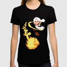Mario - Fire Flower Mario Womens Fitted Tee Black SMALL