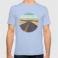 Adventure Mens Fitted Tee Tri-Blue SMALL