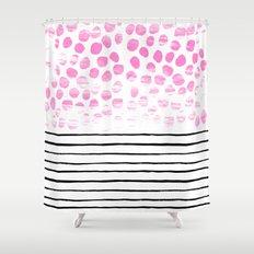 Dot Stripe hot pink black and white minimal abstract painting pattern trendy boho urban bklyn art Shower Curtain