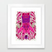 Pink Worm Neck Framed Art Print