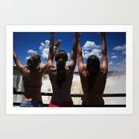 Pretty Women and Iguazu Falls Art Print
