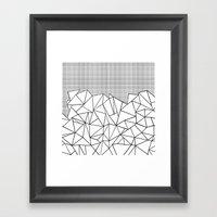 Abstract Outline Grid Black on White Framed Art Print