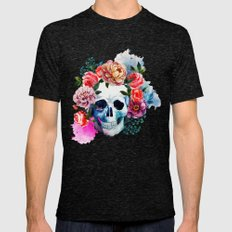 Flower Skull Mens Fitted Tee Tri-Black SMALL