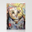 Smokey ... abstract cat art Stationery Cards