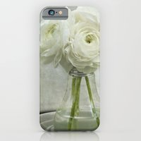 iPhone & iPod Case featuring White on White Ranunculus Flower Bouquet -- Spring Botanical -- Floral Still Life by V. Sanderson / Chickens in the Trees