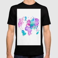 Modern world map globe bright watercolor paint Mens Fitted Tee SMALL Black