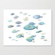 School Of Fish Watercolo… Canvas Print