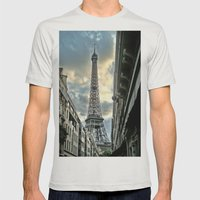 Eiffel Tower Mens Fitted Tee Silver SMALL