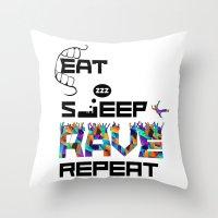 Eat Sleep RAVE Repeat Throw Pillow