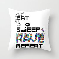Eat Sleep RAVE Repeat Throw Pillow