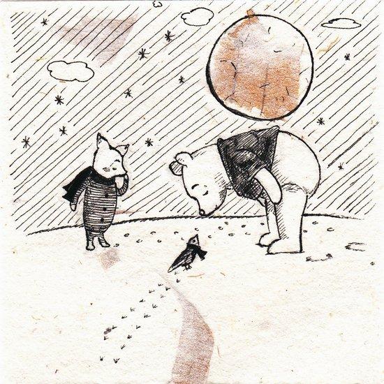 Pooh, Piglet, and Tiny Bird Art Print