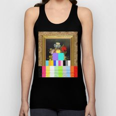 A Painting of Flowers With Color Bars Unisex Tank Top