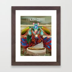 Mantis Shrimp Enjoys Coffee Framed Art Print